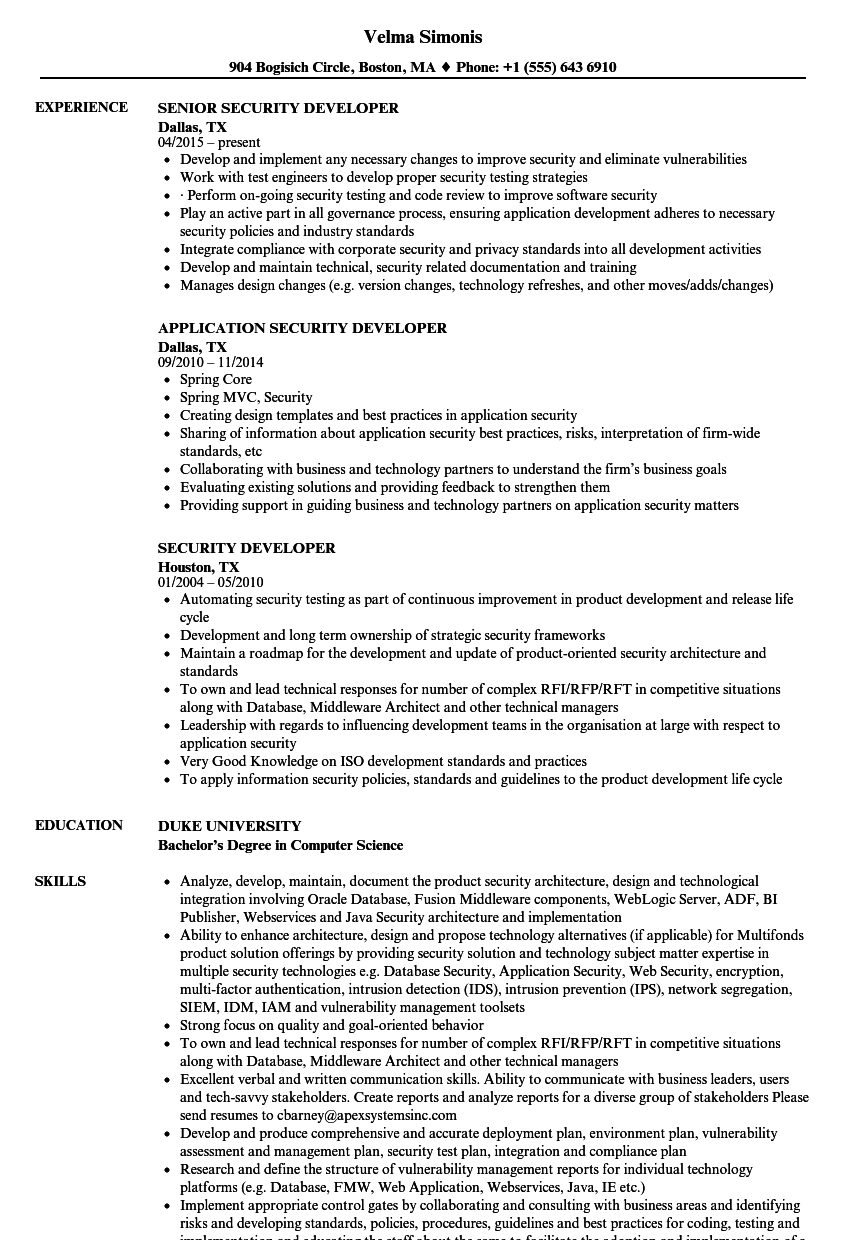 Download Security Developer Resume Sample As Image File  Best Resume Practices