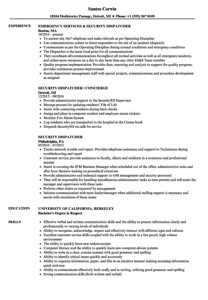 Download Security Dispatcher Resume Sample As Image File  Resume For Dispatcher
