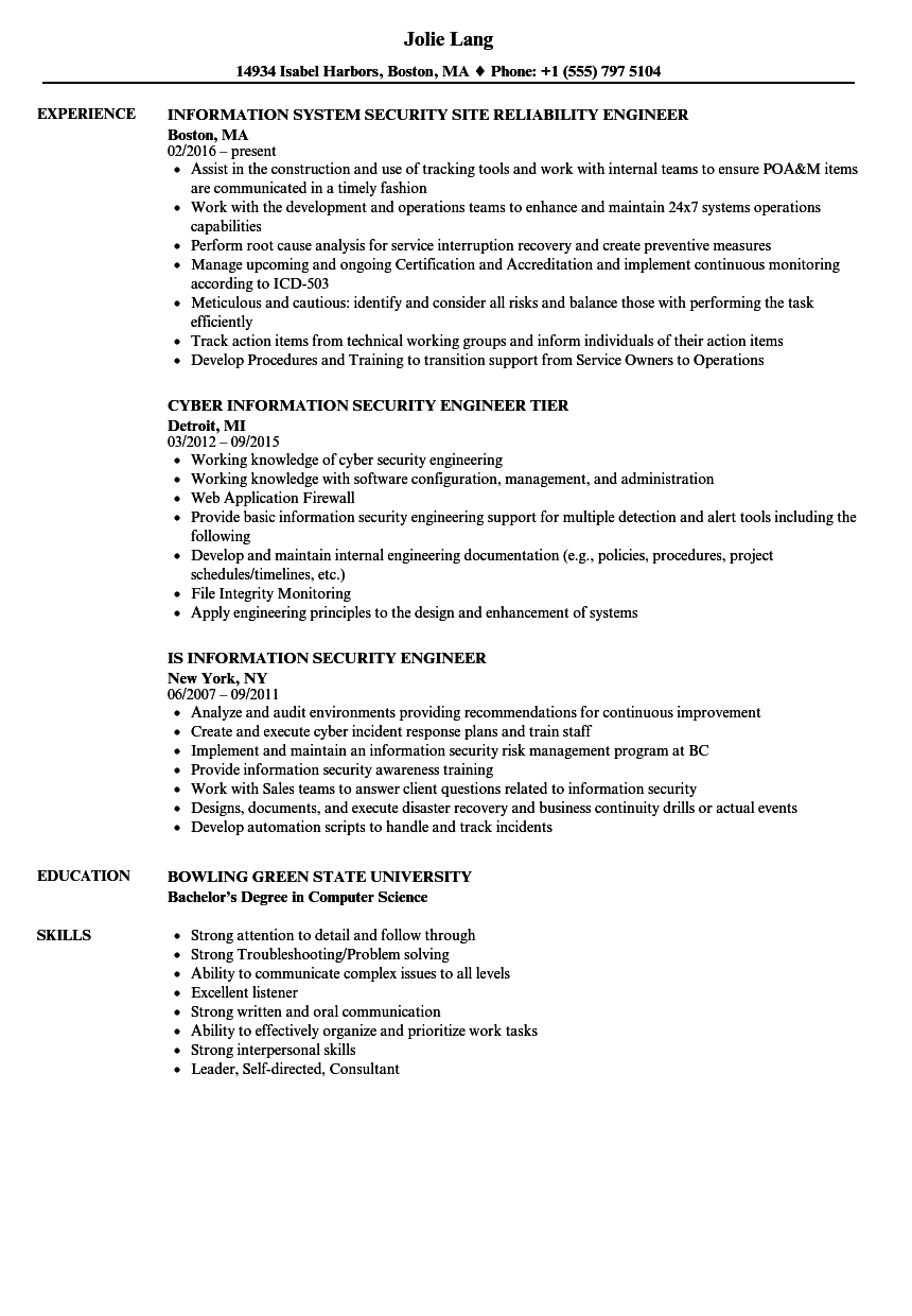 security engineer information security resume samples