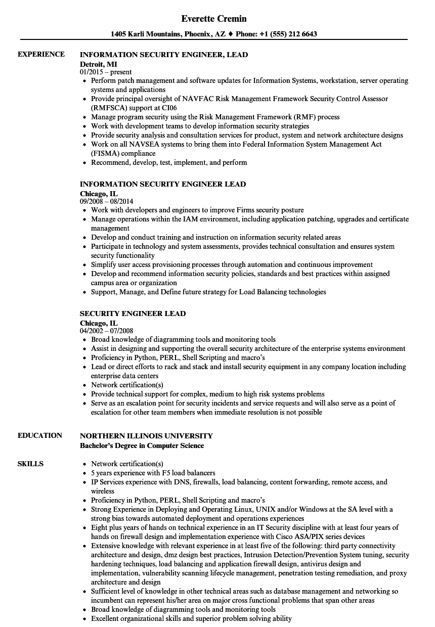 security engineer lead resume samples