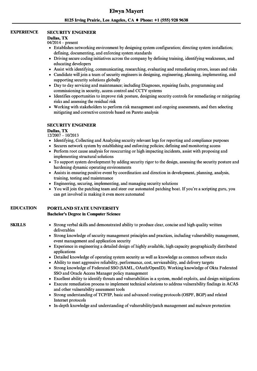 security engineer resume samples
