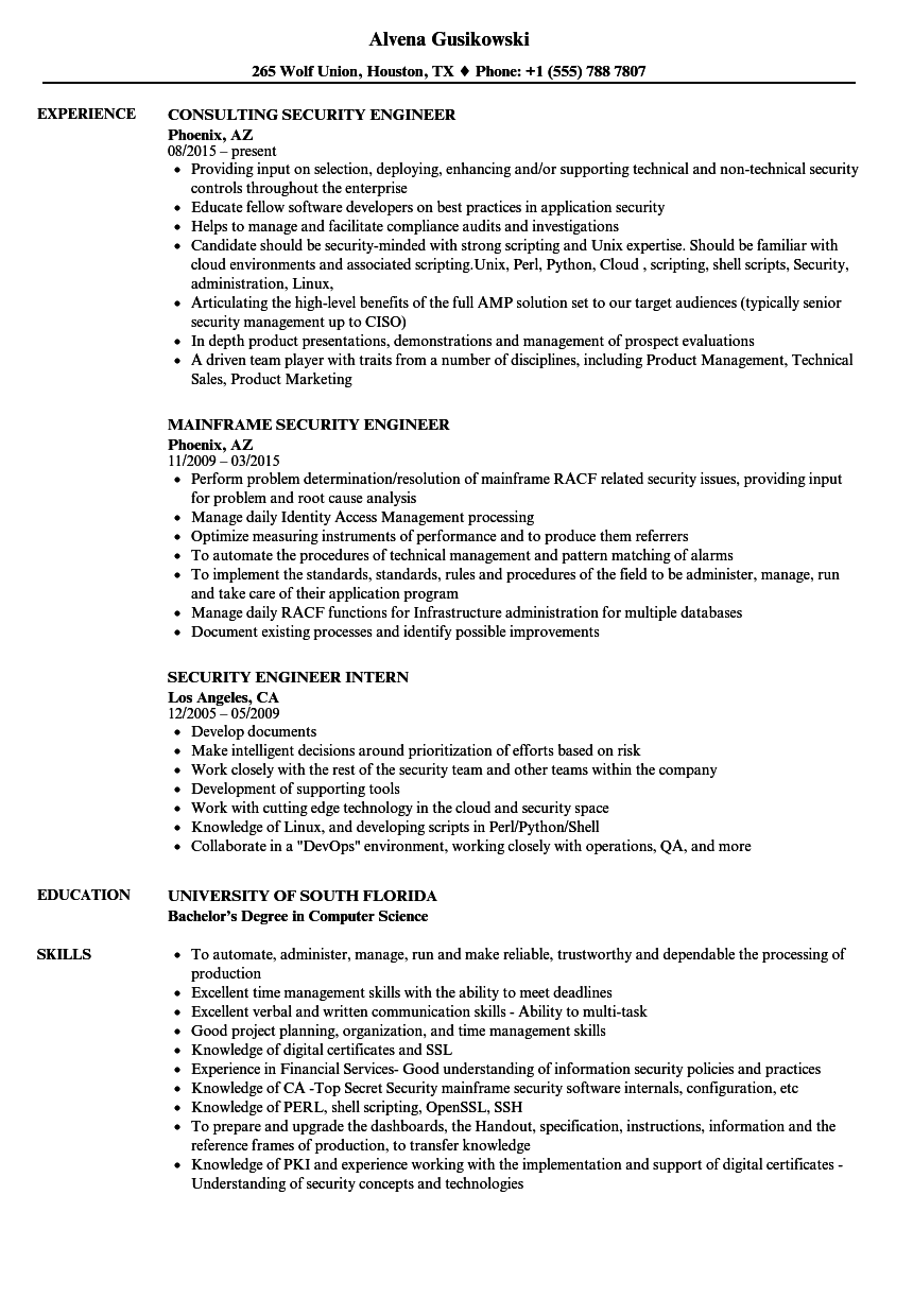 security engineer     security engineer resume samples