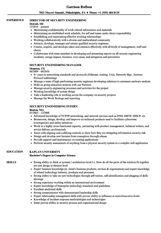 Security Engineering Resume Samples | Velvet Jobs