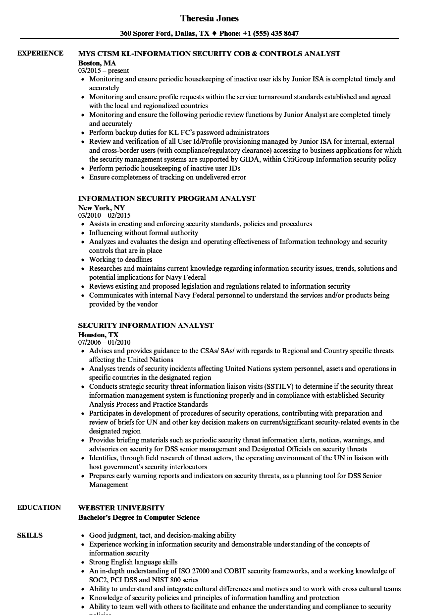 download security information analyst resume sample as image file