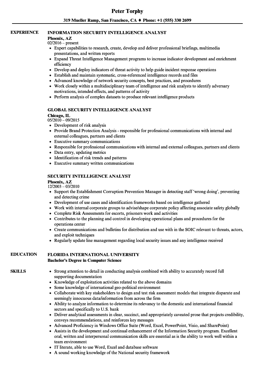 security intelligence analyst resume samples