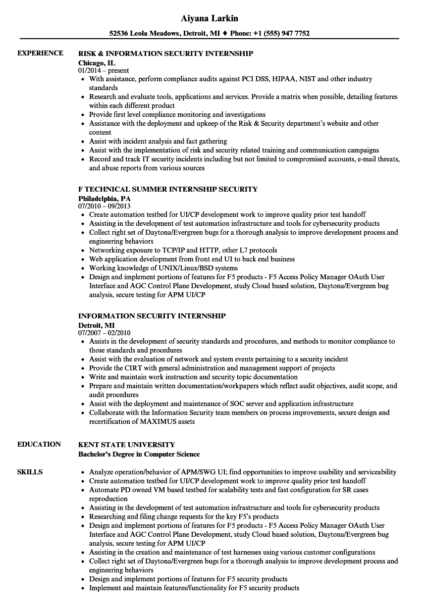 security internship resume samples velvet jobs