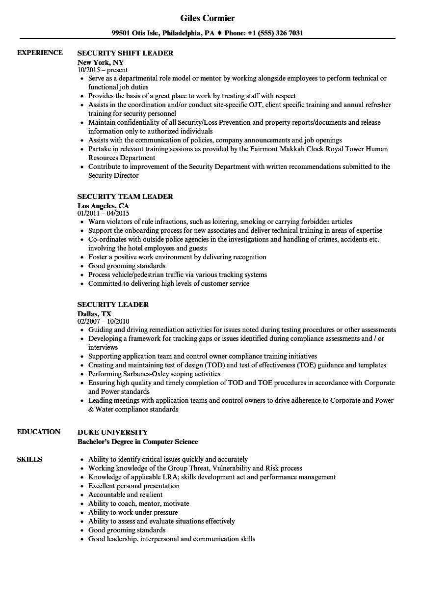 Security Leader Resume Samples Velvet Jobs