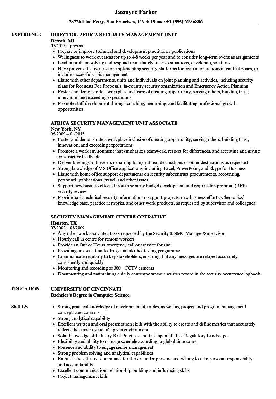security management resume samples