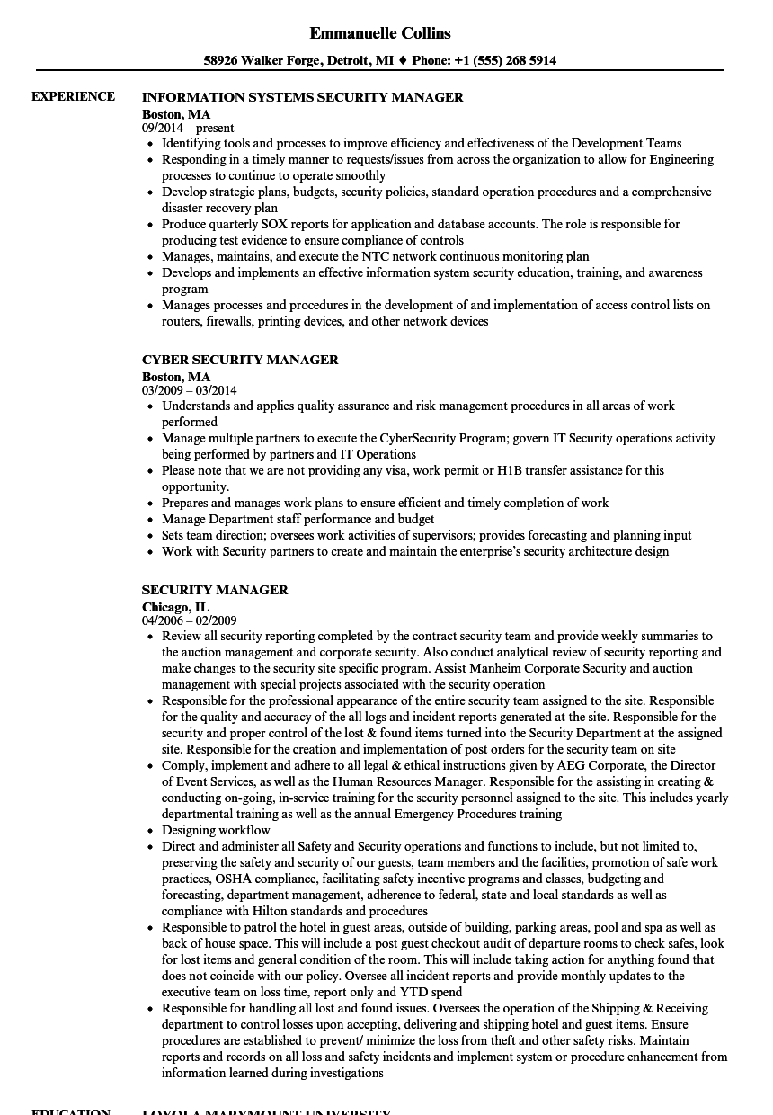 Security Manager Resume Samples | Velvet Jobs