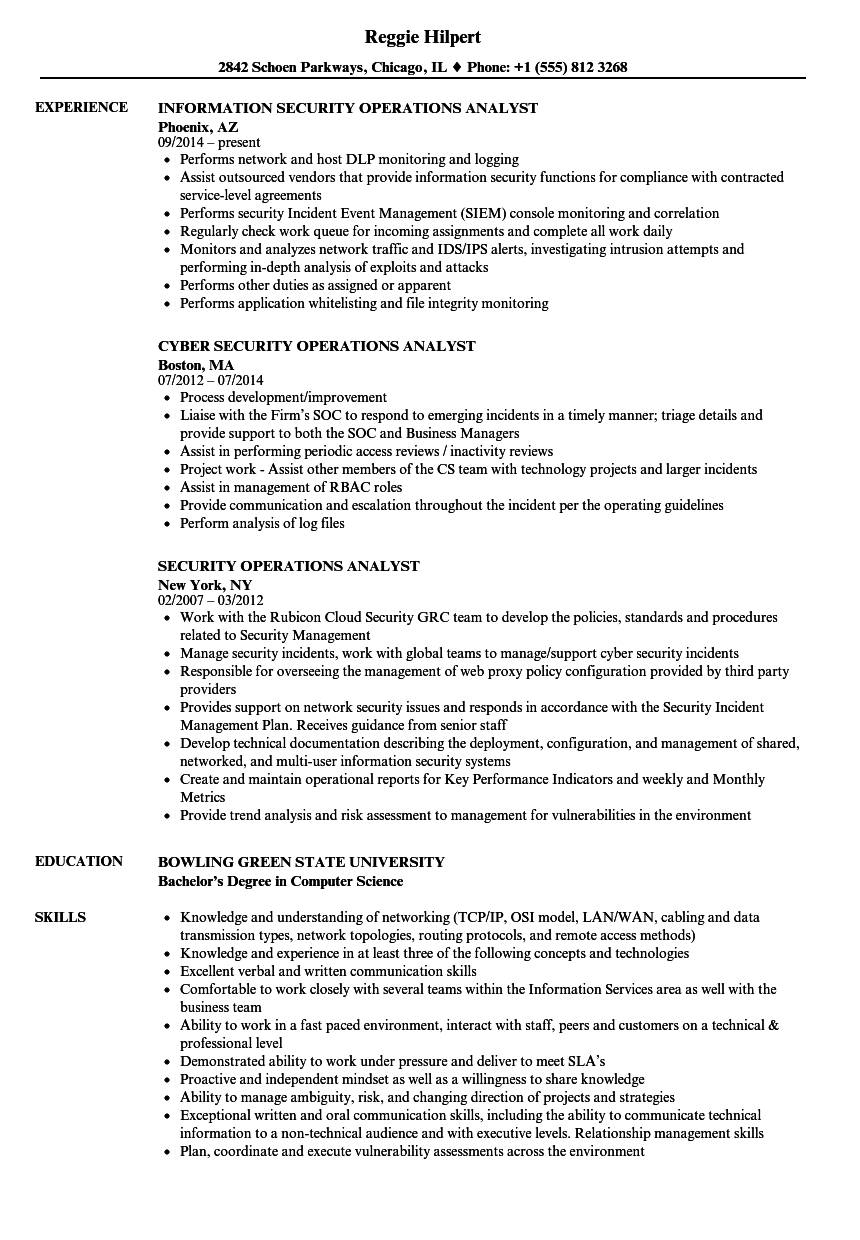 security operations analyst resume samples