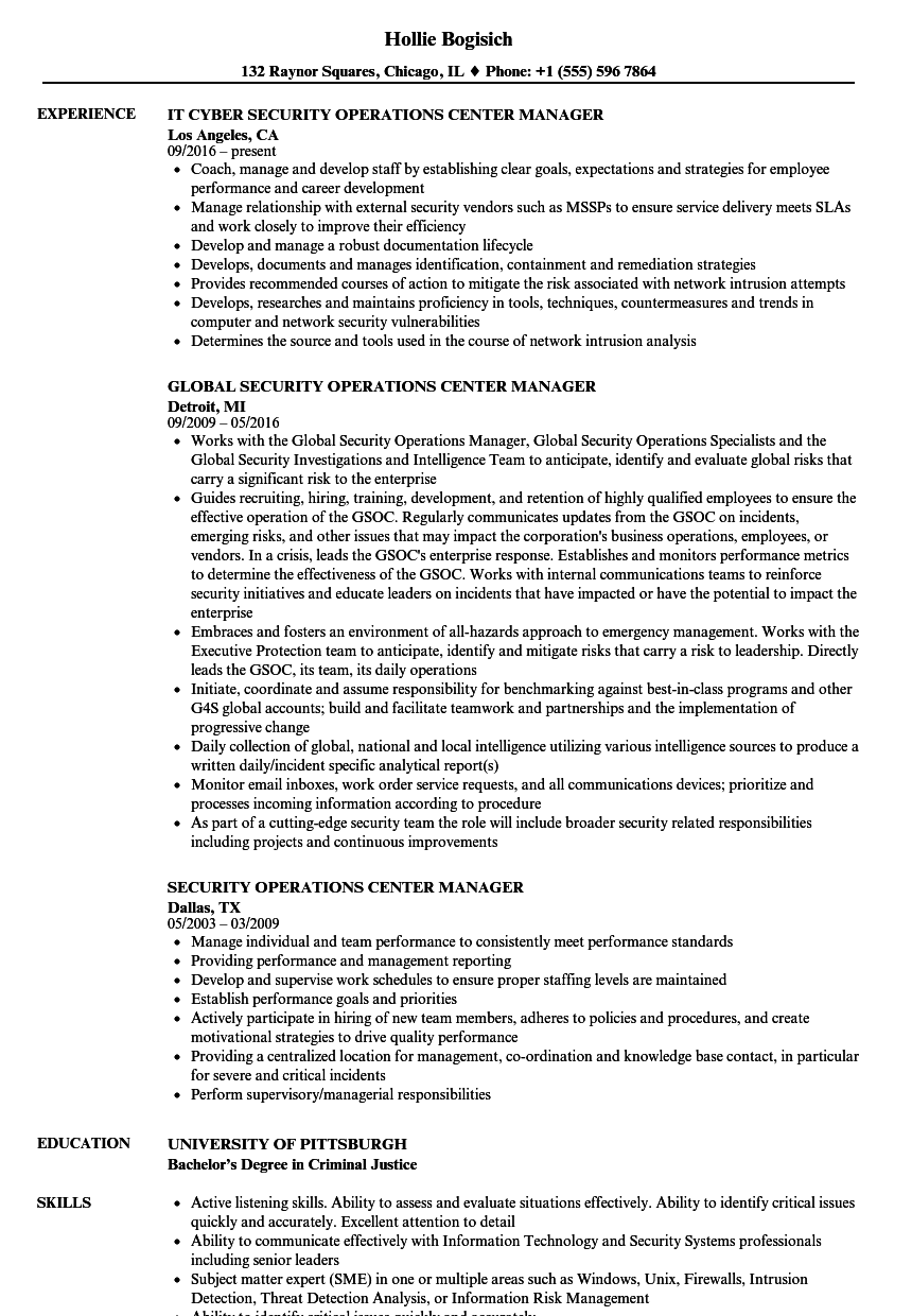 Security Operations Center Manager Resume Samples Velvet Jobs