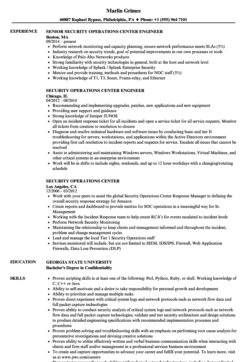 security operations center resume samples