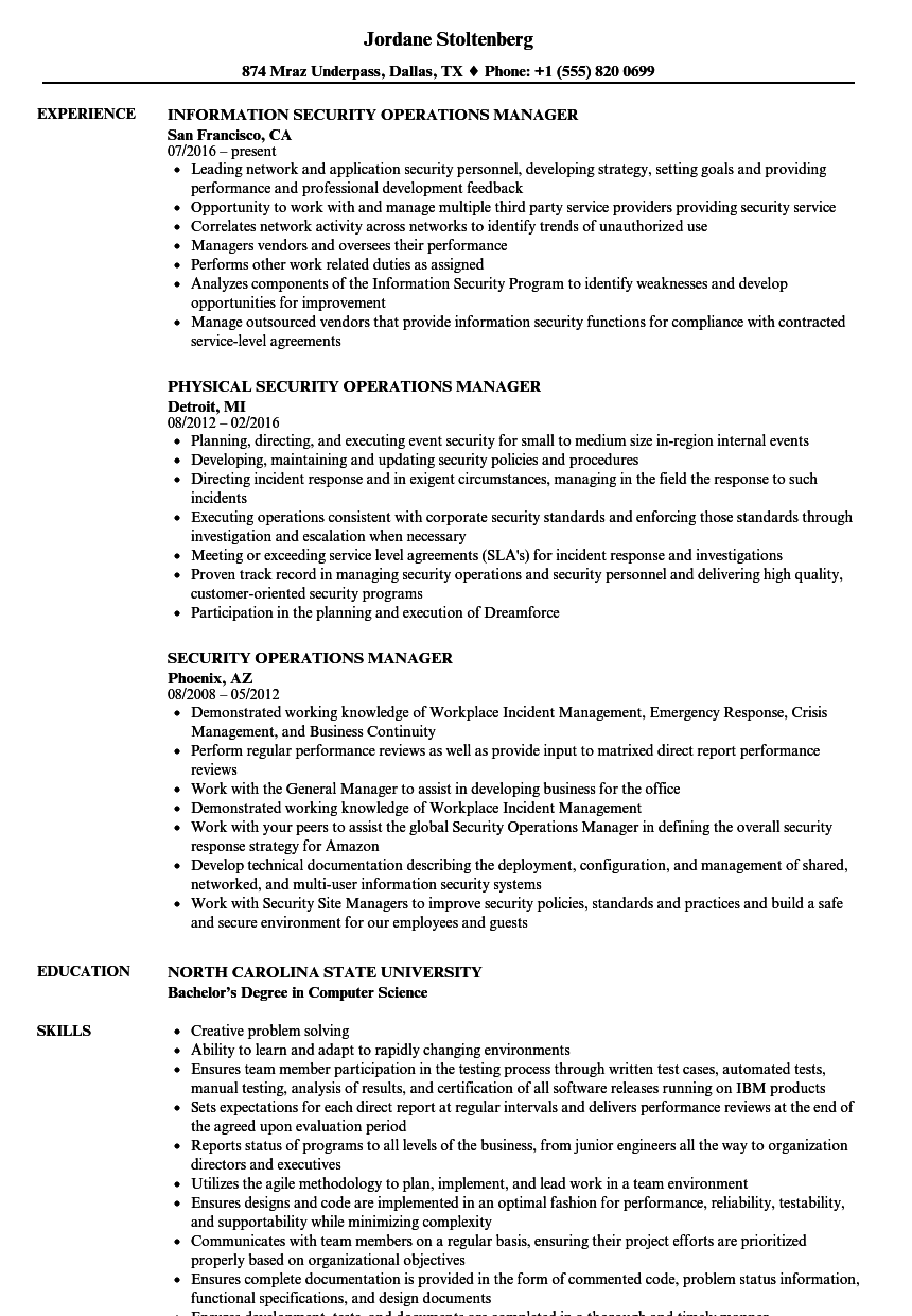 resume Security Operations Manager Resume security operations manager resume samples velvet jobs download sample as image file