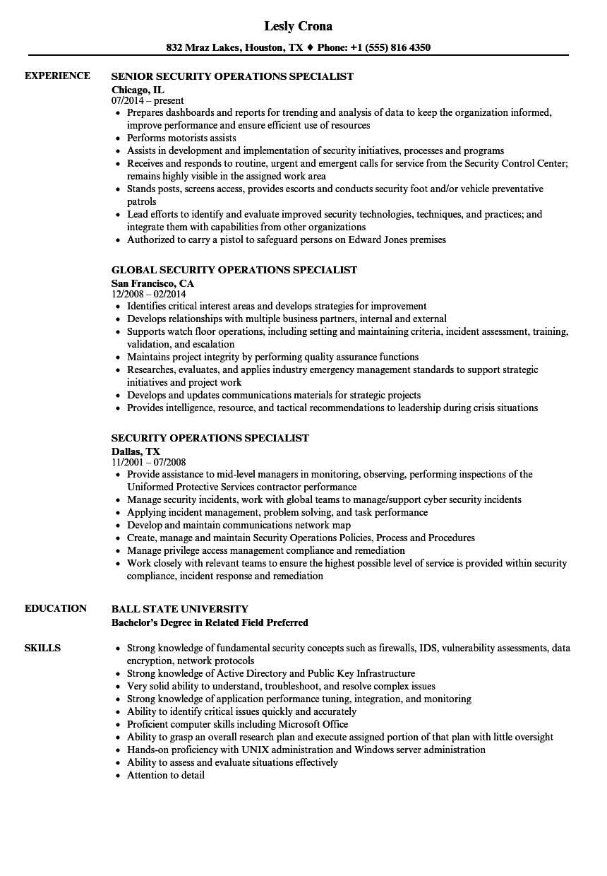 Download Security Operations Specialist Resume Sample As Image File  Security Specialist Resume