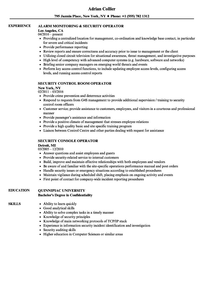 Download Security Operator Resume Sample As Image File