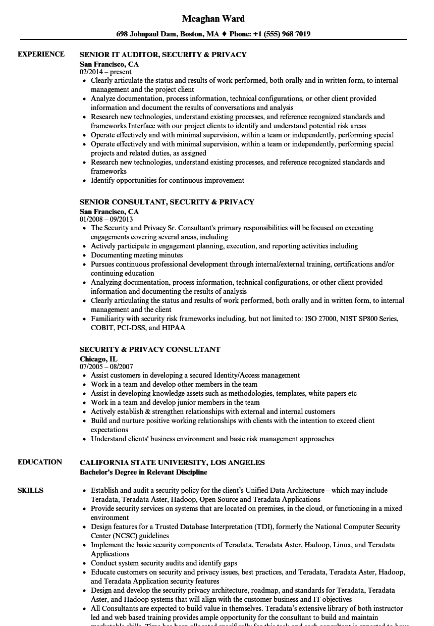 security  u0026 privacy resume samples