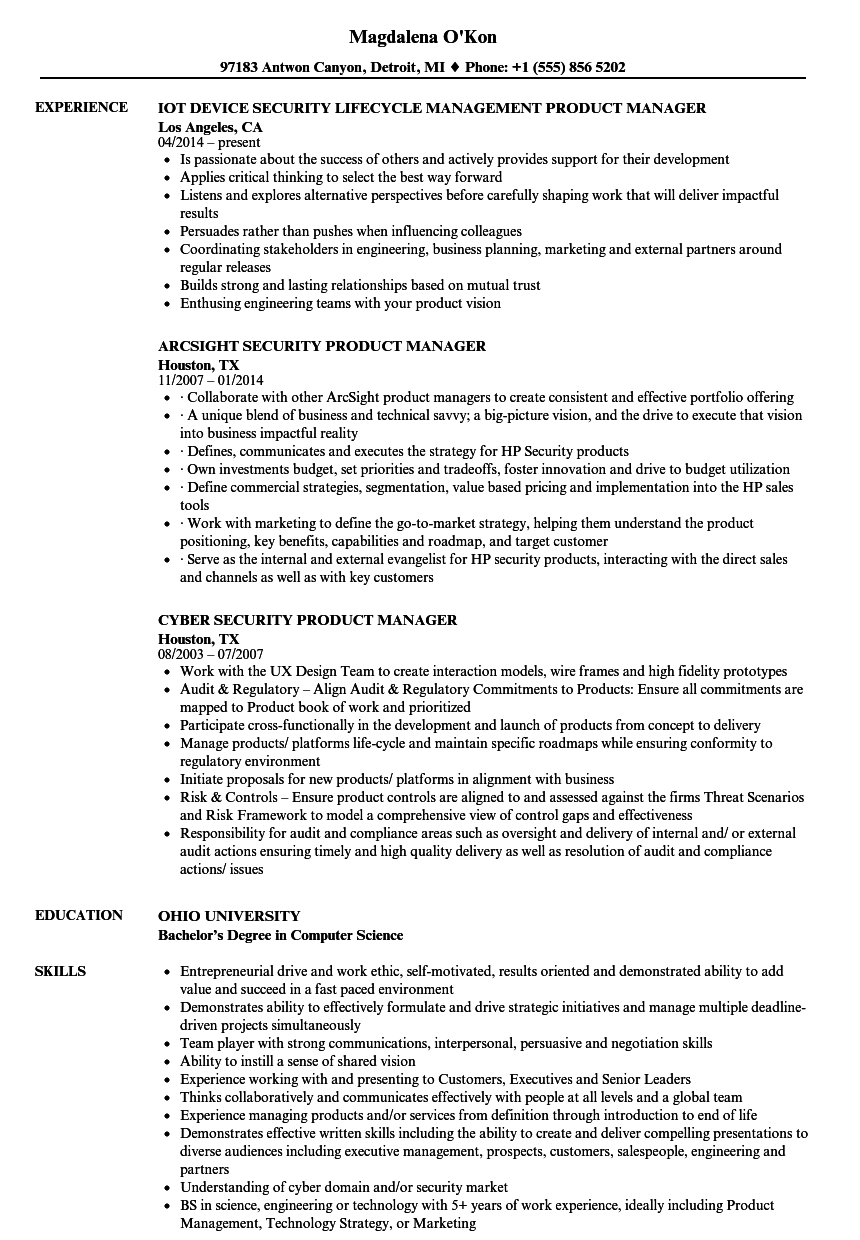 Download Security Product Manager Resume Sample As Image File