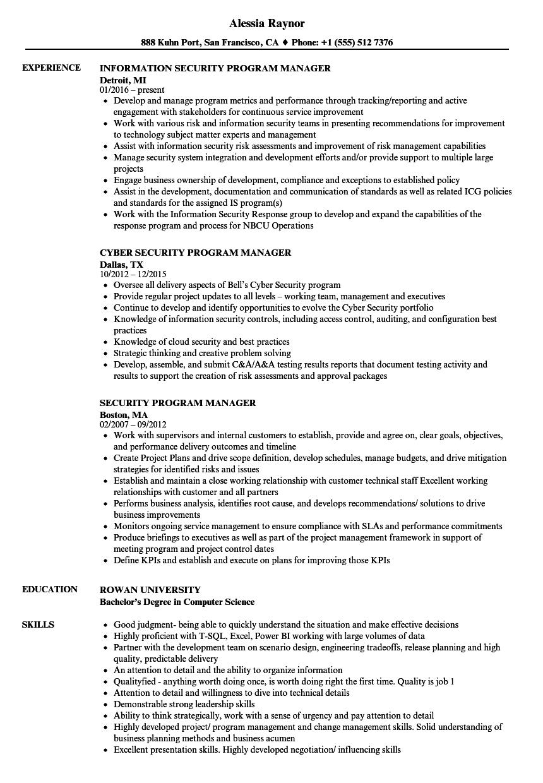 security program manager resume samples velvet jobs