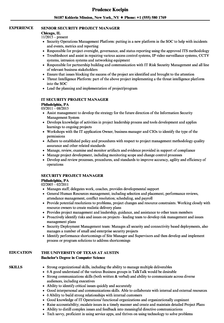 Security Project Manager Resume Samples Velvet Jobs