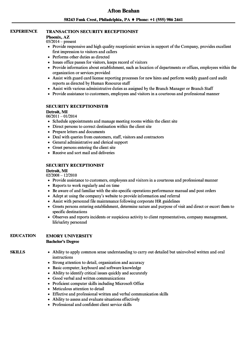 download security receptionist resume sample as image file - Receptionist Resumes Samples