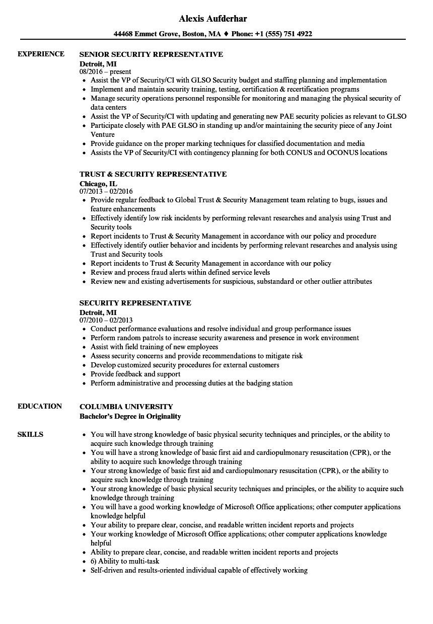 security representative resume samples