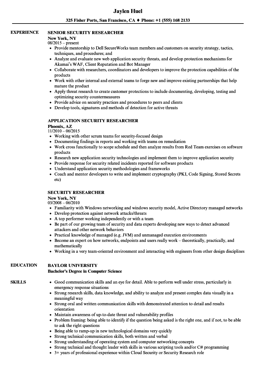 security researcher resume samples