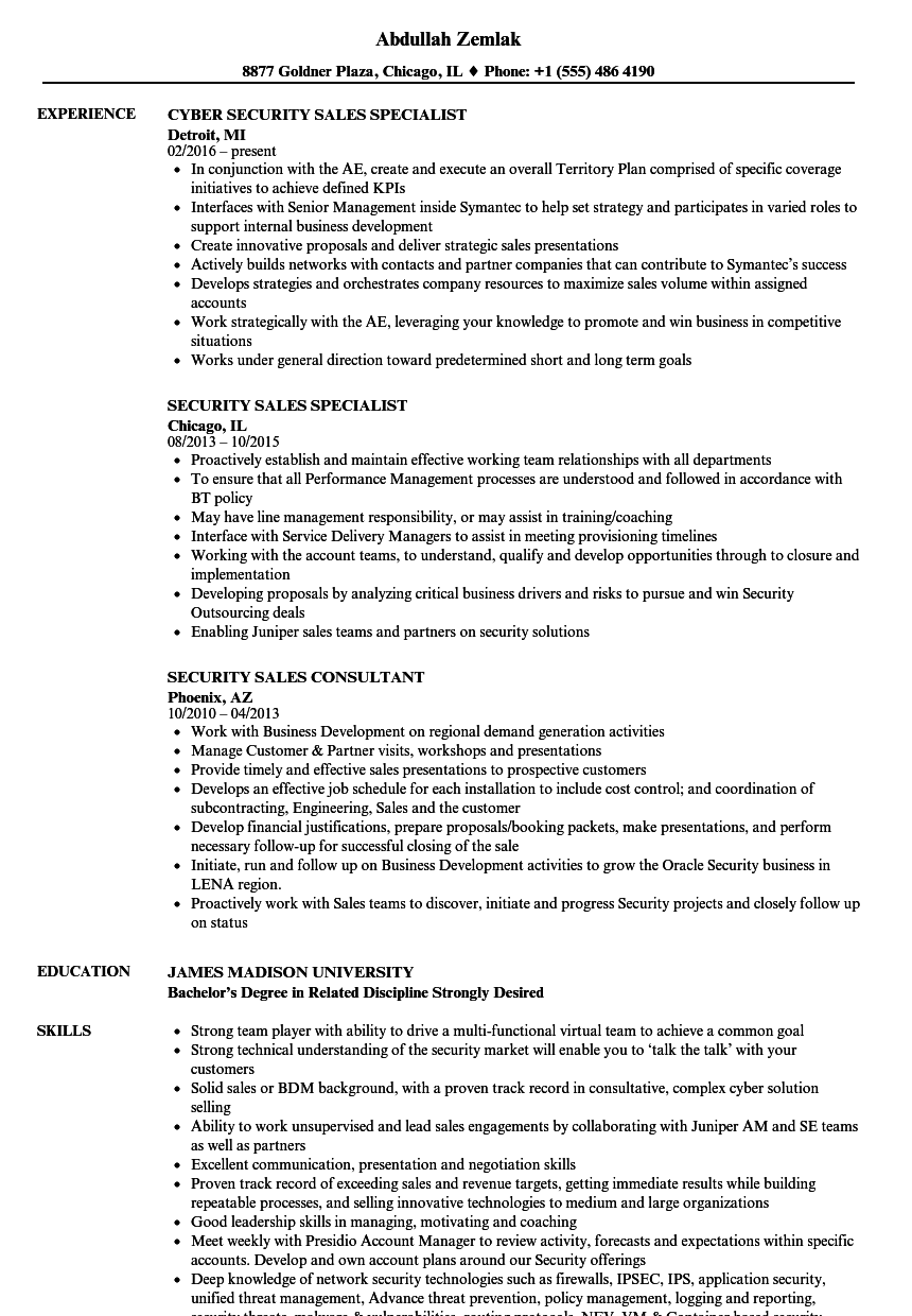 cyber security sales engineer resume november 2020