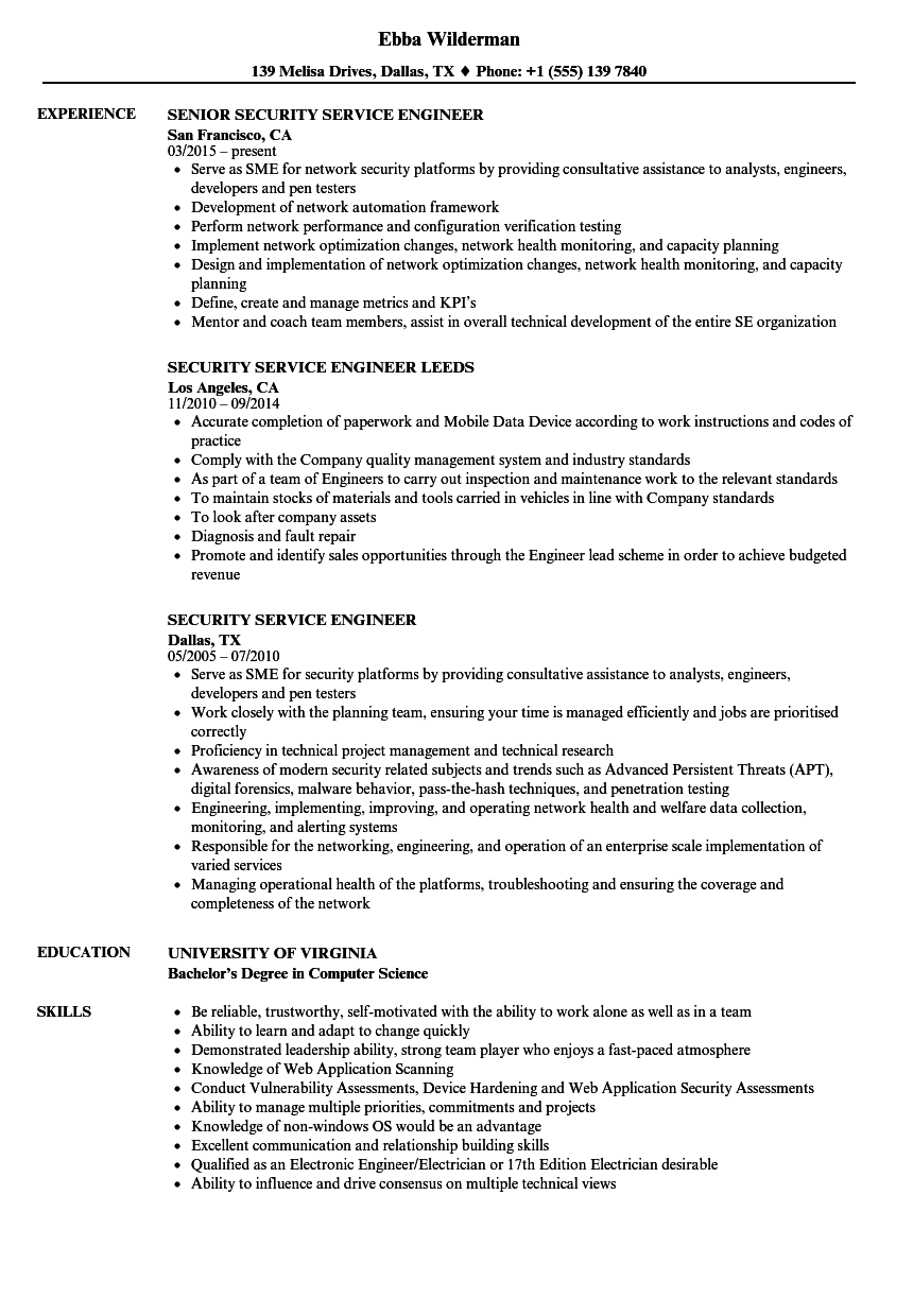 Security Service Engineer Resume Samples Velvet Jobs