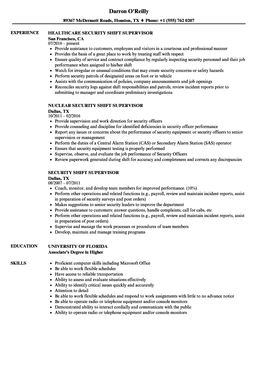 Security shift supervisor resume samples velvet jobs for Resume samples for supervisor positions