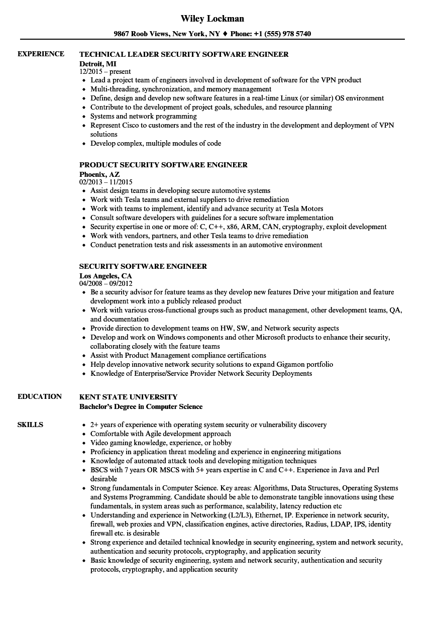 security software engineer resume samples