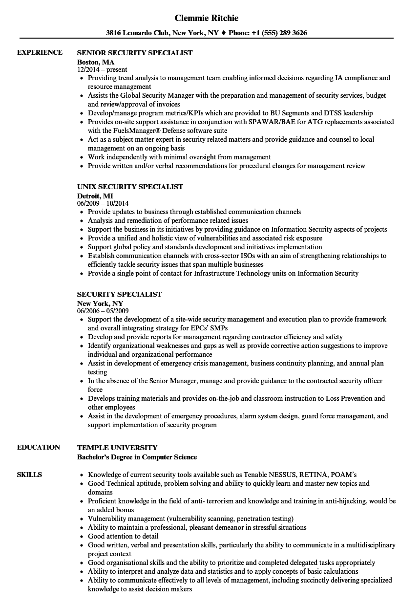 download security specialist resume sample as image file