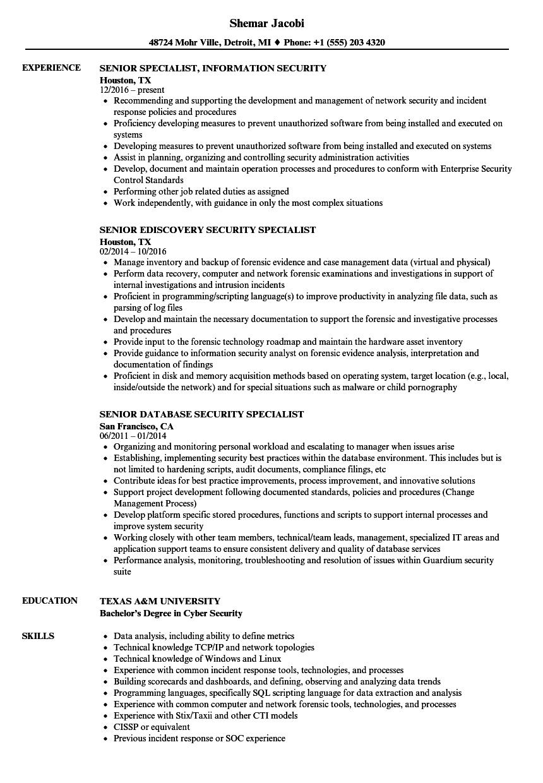 Security Specialist Senior Resume Samples Velvet Jobs
