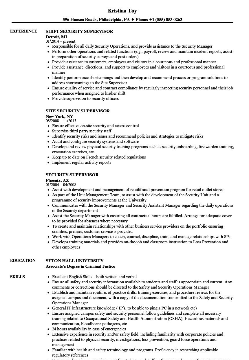 Security Supervisor Resume Samples | Velvet Jobs
