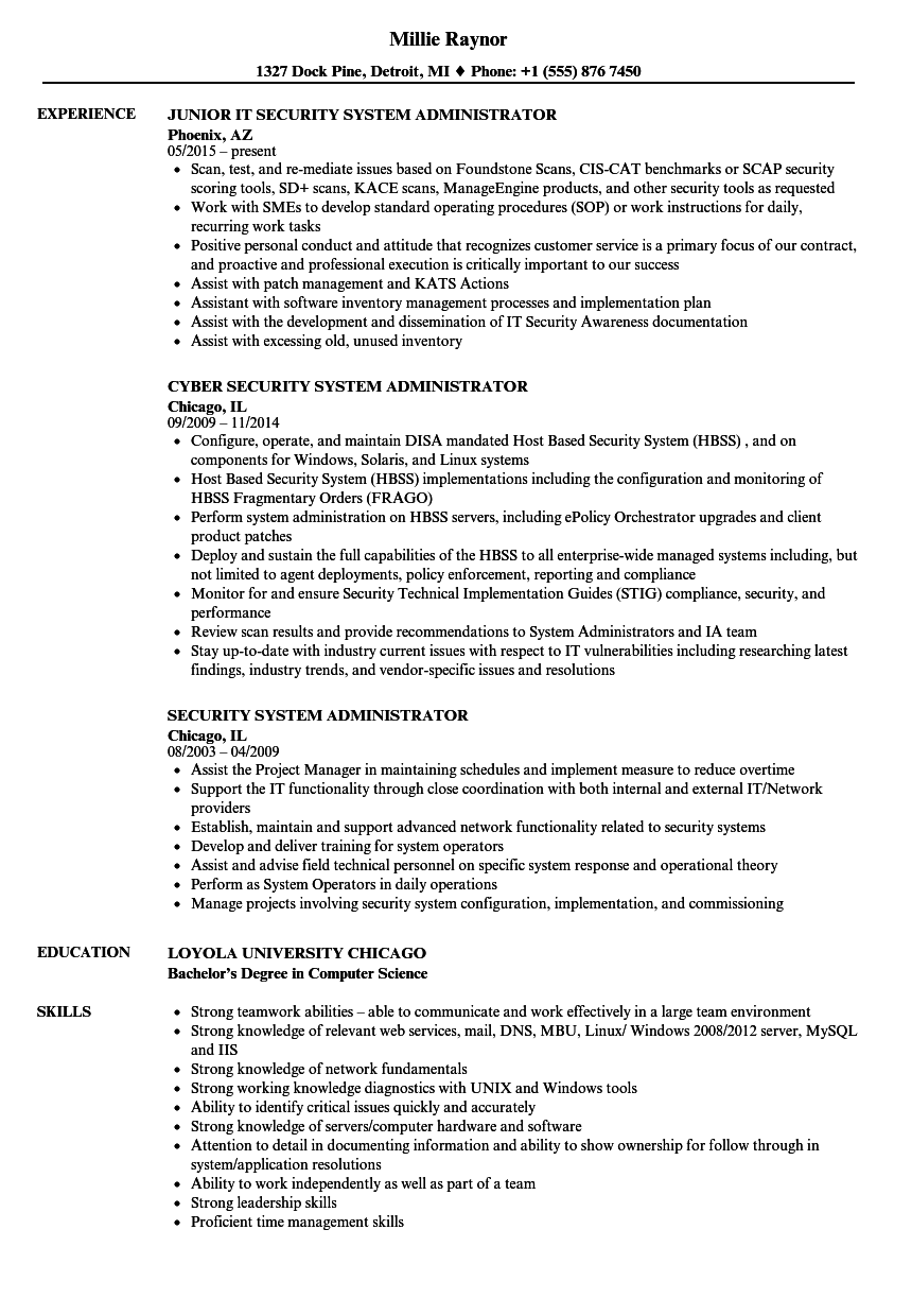 download security system administrator resume sample as image file - System Administrator Resume