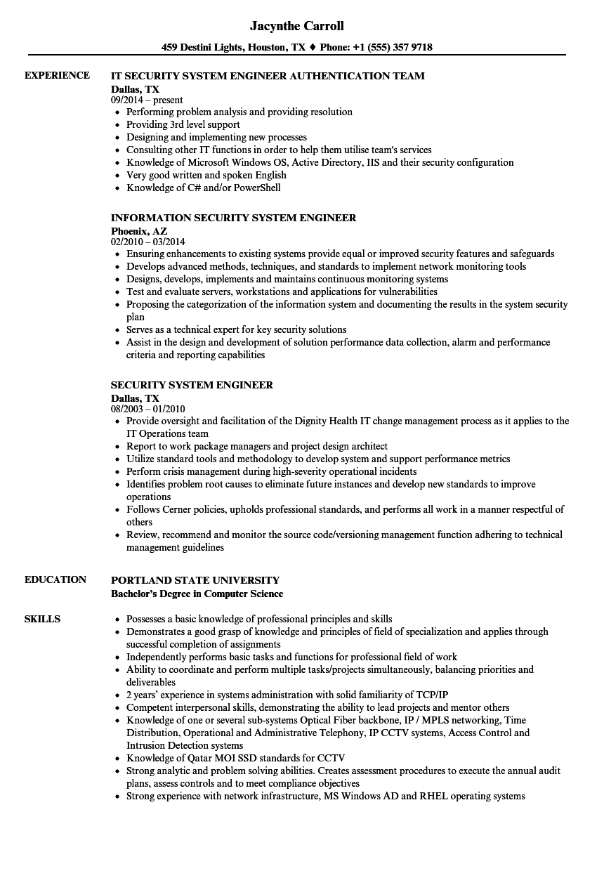 security system engineer resume samples