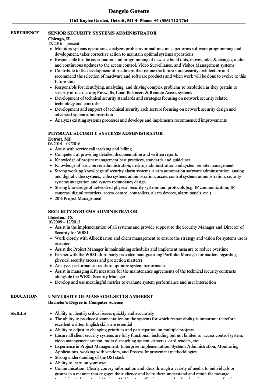 security systems administrator resume samples