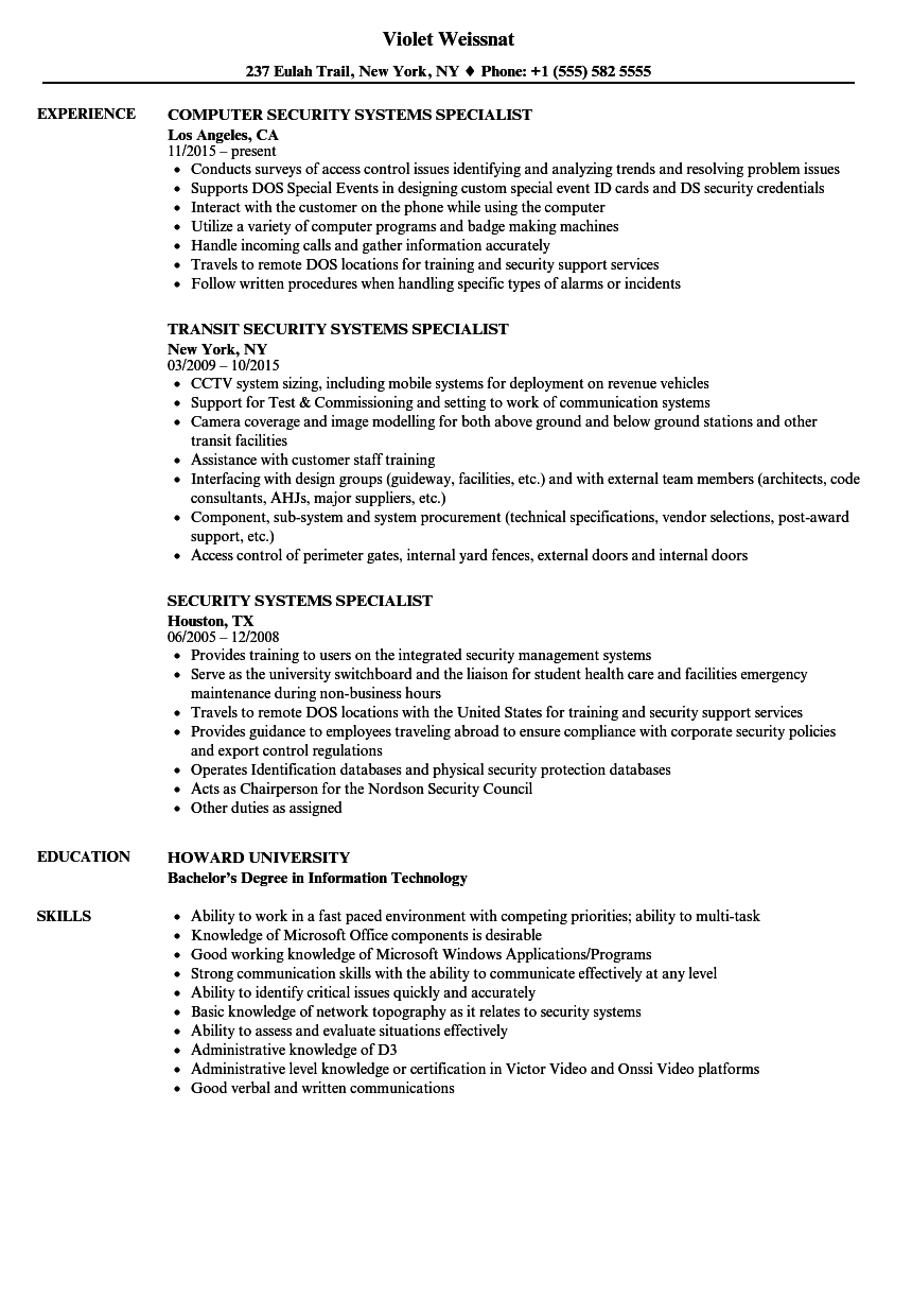 security systems specialist resume samples