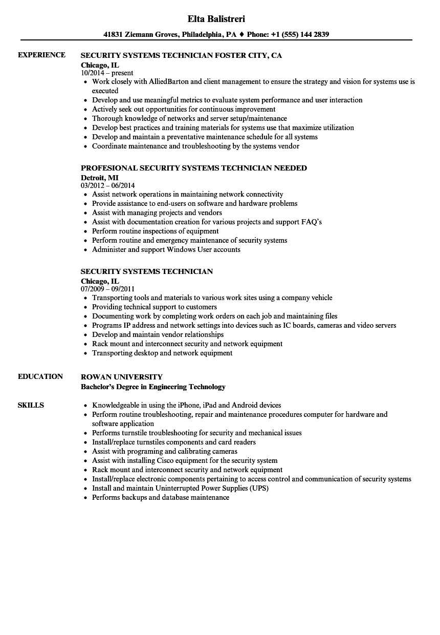 security systems technician resume samples