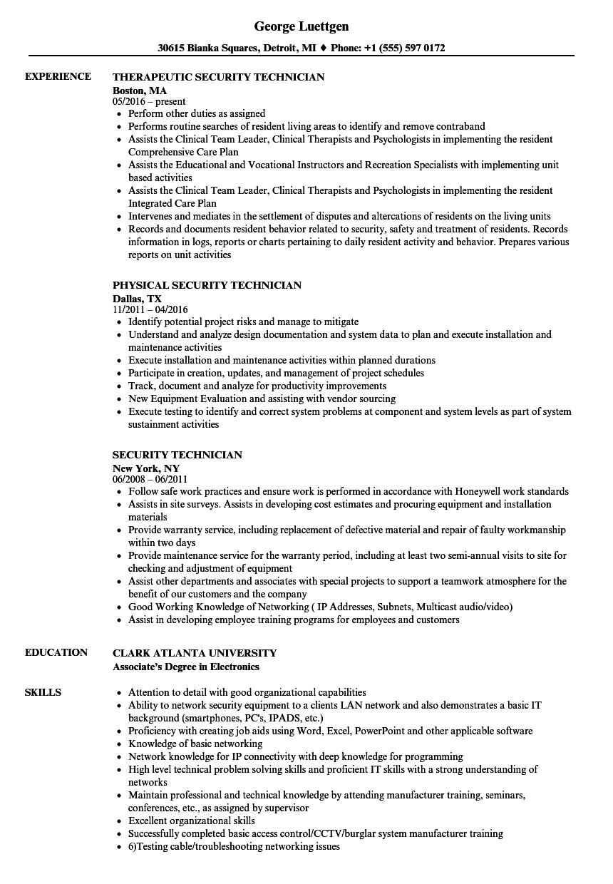 Security Technician Resume Samples | Velvet Jobs
