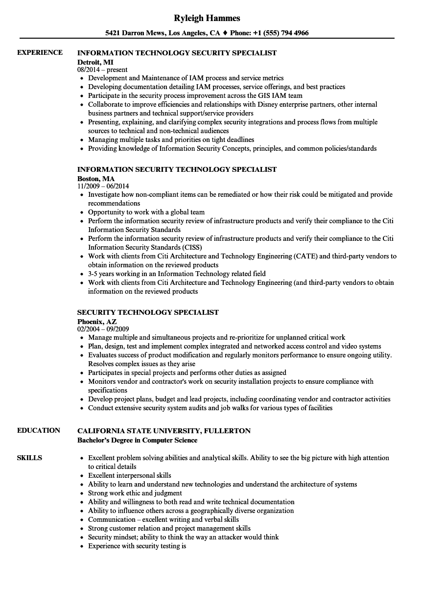 security technology specialist resume samples