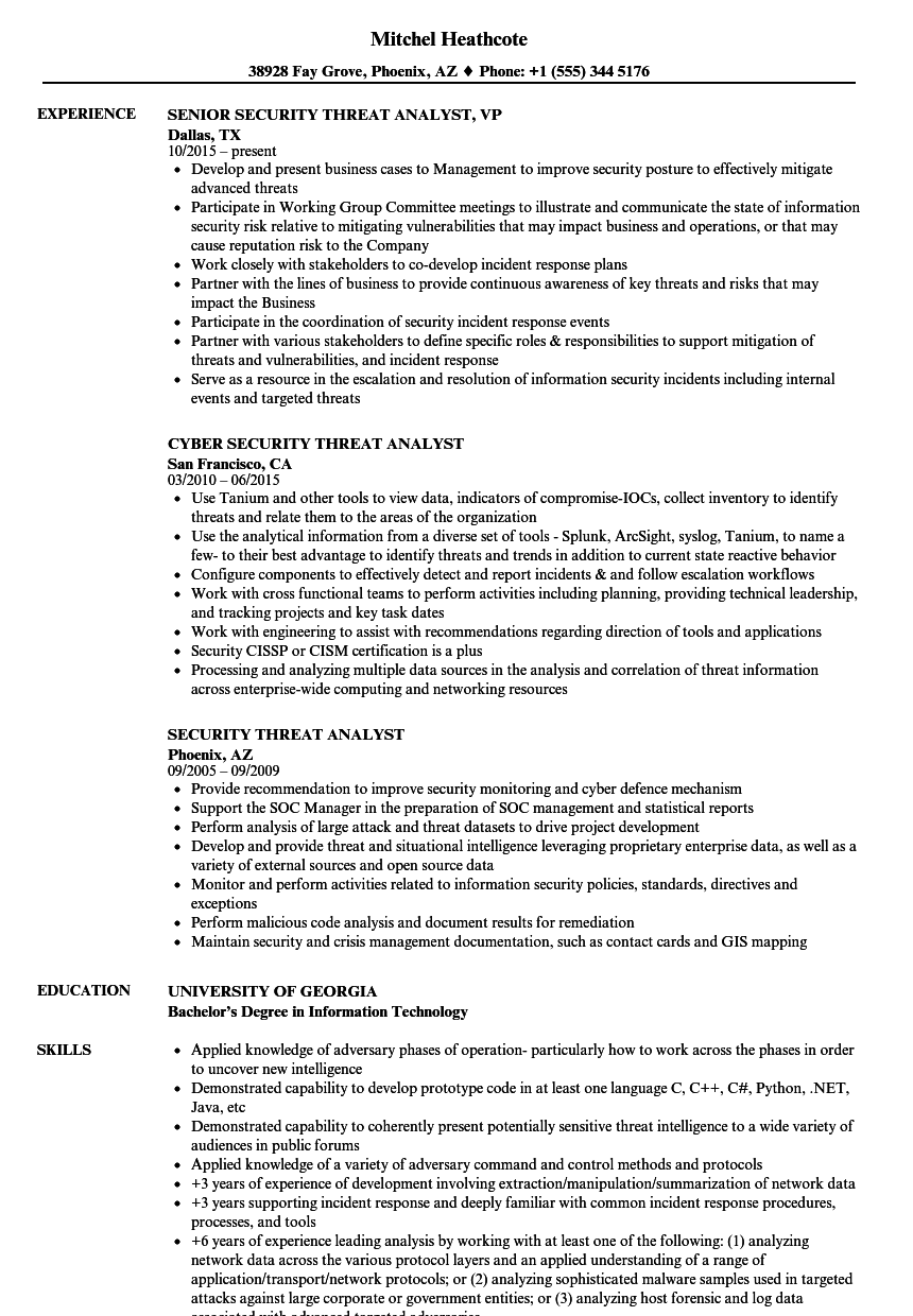 security threat analyst resume samples