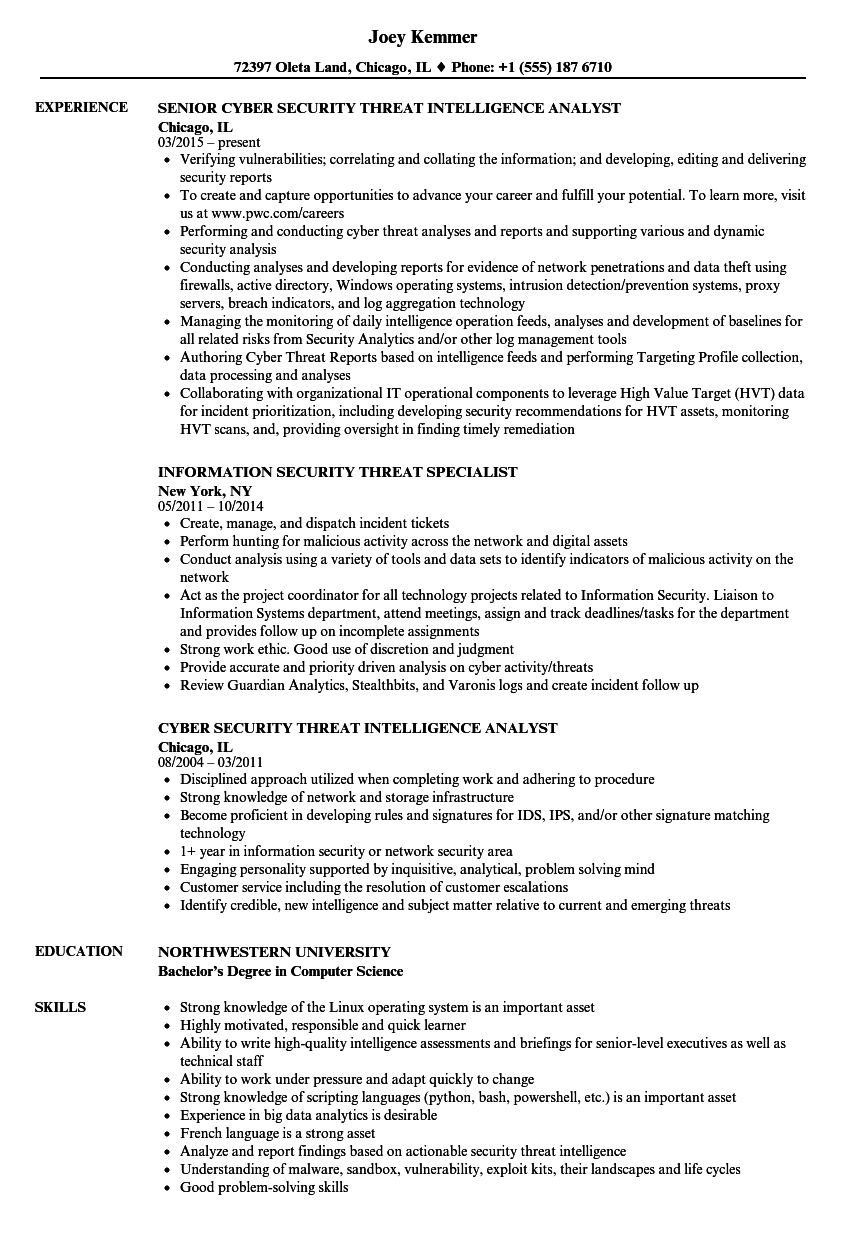 security threat resume samples