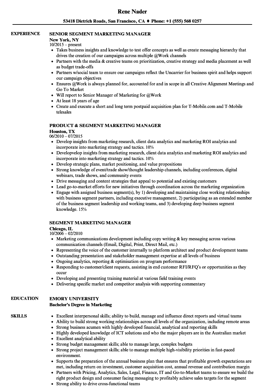 segment marketing manager resume samples velvet jobs