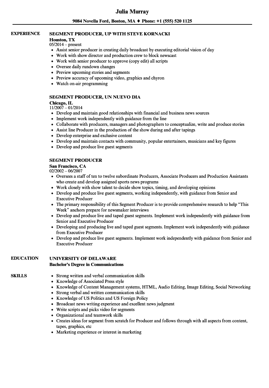 Segment Producer Resume Samples | Velvet Jobs