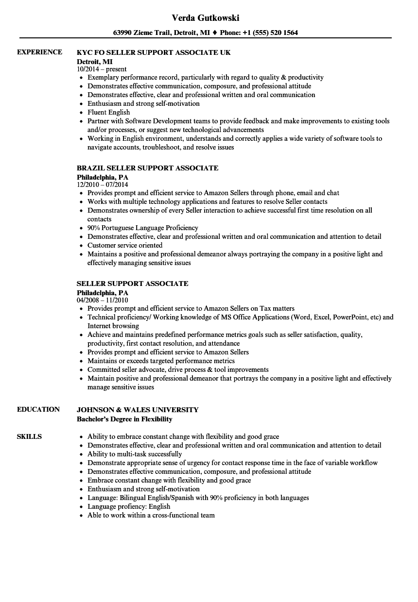 Seller Support Associate Resume Samples Velvet Jobs