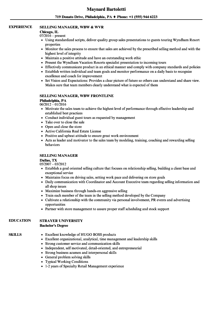 Selling Manager Resume Samples Velvet Jobs