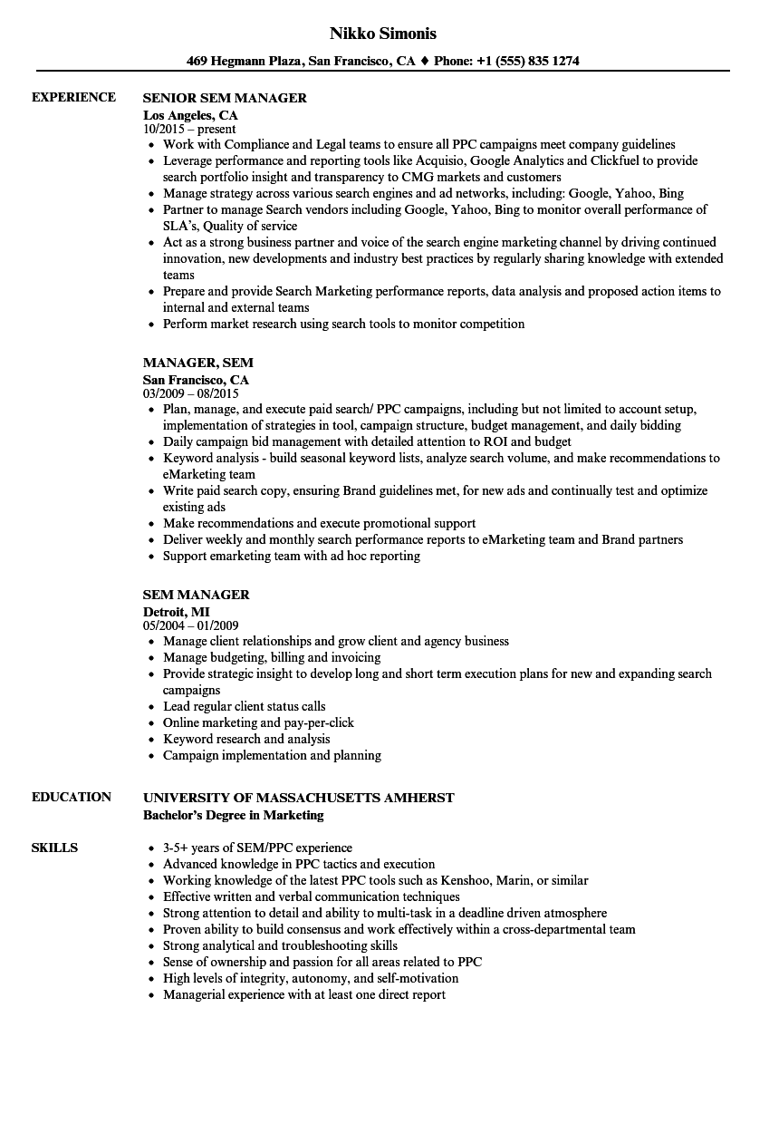 sem manager resume samples velvet jobs