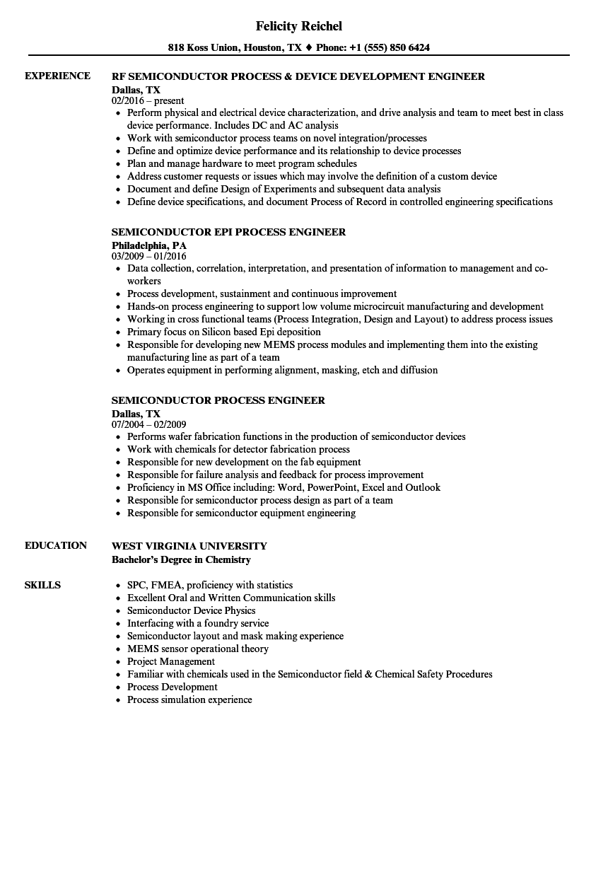 Semiconductor Process Engineer Resume Samples | Velvet Jobs