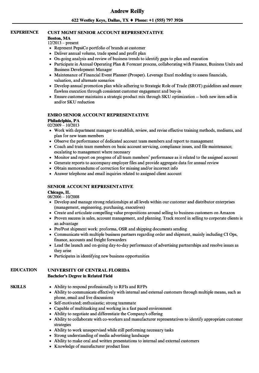 senior account representative resume samples