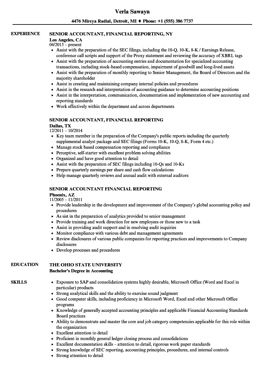Senior Accountant, Financial Reporting Resume Samples | Velvet Jobs